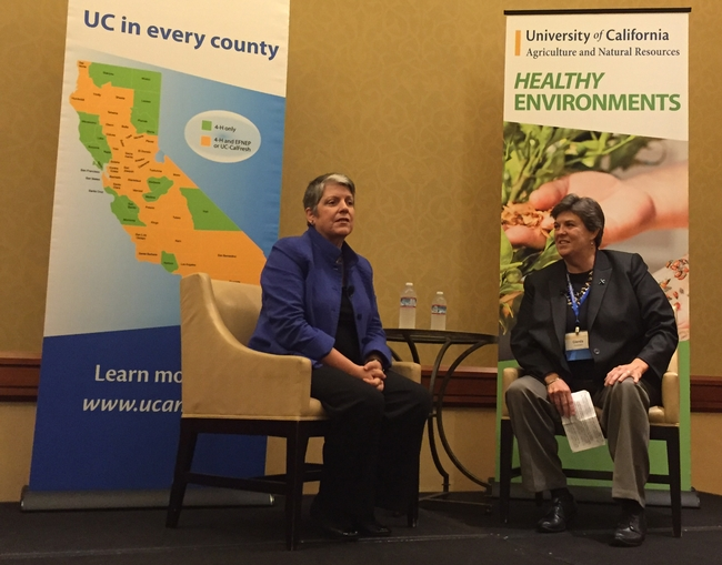 President Janet Napolitano and VP Glenda Humiston fielded questions from UC ANR members.