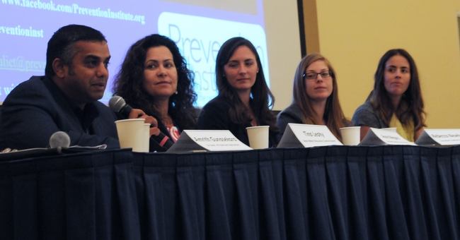 From left, Amrith Gunasekara, Tina Cannon Leahy, Anne Megaro, Rebecca Newhouse and Juliet Sims described how they use research to shape policy.
