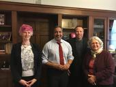 From left, Pia Van Benthem, outreach program coordinator for UC Davis Center for Spatial Technologies and Remote Sensing (CSTARS) and the Department of Land, Air and Water Resources, Congressman Ami Bera, Hogan and Susan Ustin, CSTARS director.