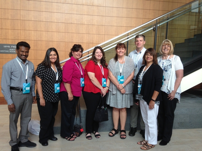 From left, ANR's Surendra Dara, Emily Melton Casado, Jan Gonzales, Kimberly Lamar, John Fox, Shirley Salado and Lori Renstrom attended the UC People Conference.