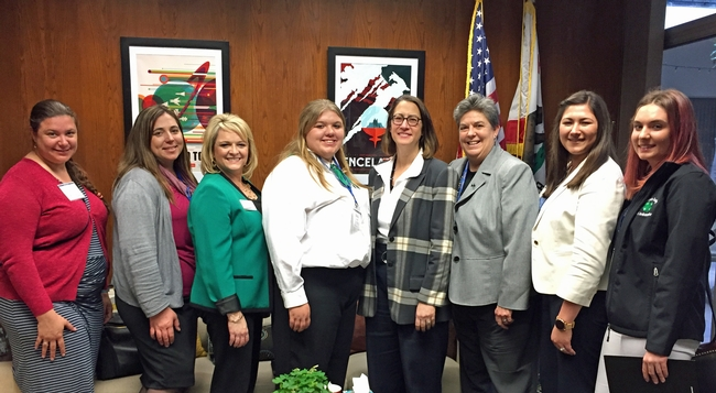 Assemblymember Laura Friedman poses with UC ANR members in her office.