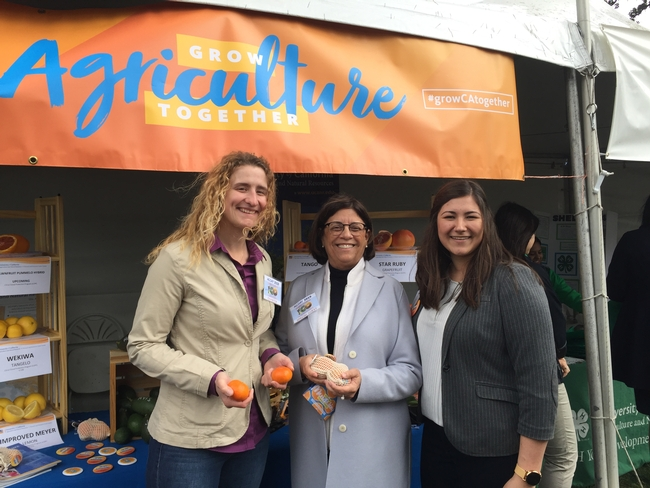At Ag Day at the Capitol, UCCE Modoc County Director Laura Snell talks with Assemblymember Cecilia Aguiar-Curry and Maci Mueller.