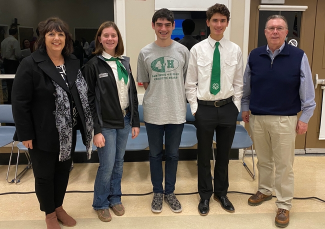 Former 4-H leader Pat Bohm joined Alex, Adam, Tristan and former San Bruno Mayor Jim Ruane at the meeting.