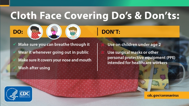 During Stage 2 of reopening, UC ANR guidelines call for wearing face coverings (cloth or paper masks, cloth bandanas, etc.) when six feet of separation between people cannot be maintained.