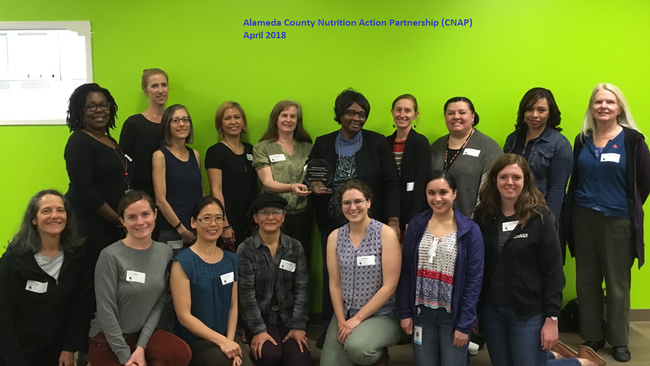 Representatives of the Alameda County Nutrition Action Partnership shown in 2018 when they won the Wellness Team Award from the Harkin Institute for Public Policy & Citizen Engagement.