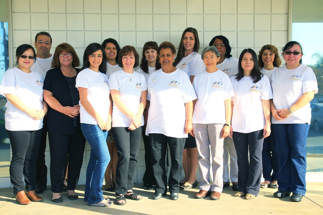 UCCE Riverside staff gather for a photo wearing their centennial t-shirts. Top: Ihab Sharabeen, Claudia Diaz-Carrasco, Eva Parrill, Alyssa Taylor, Vada Wright, Claudia Carlos. Bottom: Mao Vue, Cheryl Eggleston, Emma Sandoval, Connie Costello, Eta Takele, Chutima Ganthavorn, Chung Huynh, Myriam Acevedo.