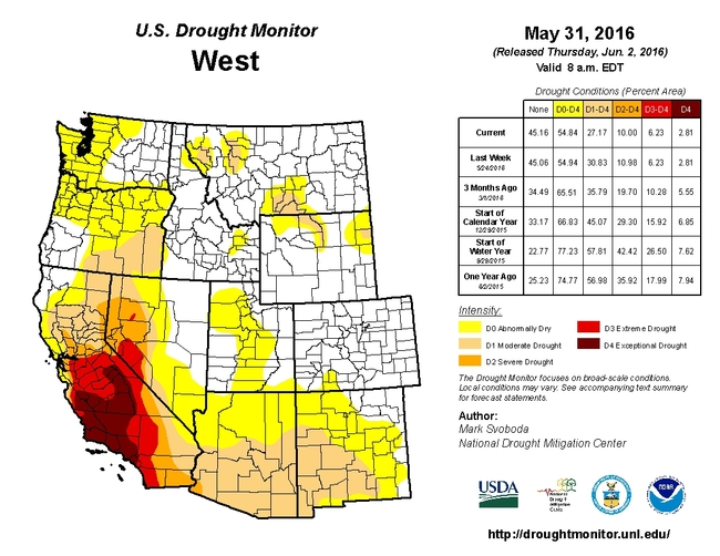 Map of California's current drought situation as of May 31, 2016