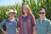 Soil Health Baseline Monitoring Team.  Left to right: Wendy Krehbiel, Megan Schroeder (USDA-NRCS), and Betsy Karle (UCCE Glenn County).
