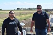 Moises Luna (left) of Agrivalley Company and Alex Flores of Yardney Water Filtration Systems visit the NRI Project field in Five Points, CA April 2, 2019
