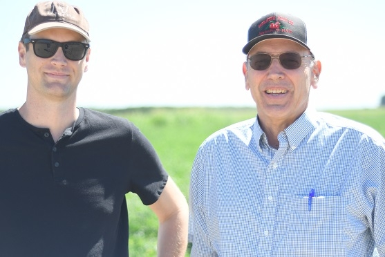 Darcy Villere (left) and Ron Jones of J & J Farms in Firebaugh, CA join CASI's Jeff Mitchell for a discussion and tour of the NRI Project field in Five Points, CA June 21, 2019