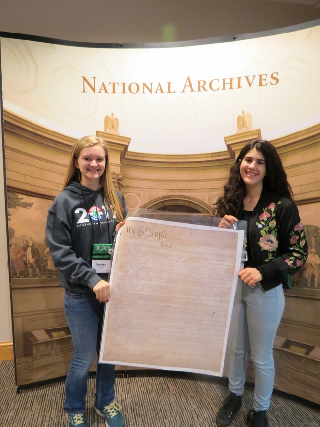 CWF-PI delegates with a replica of the Constitution