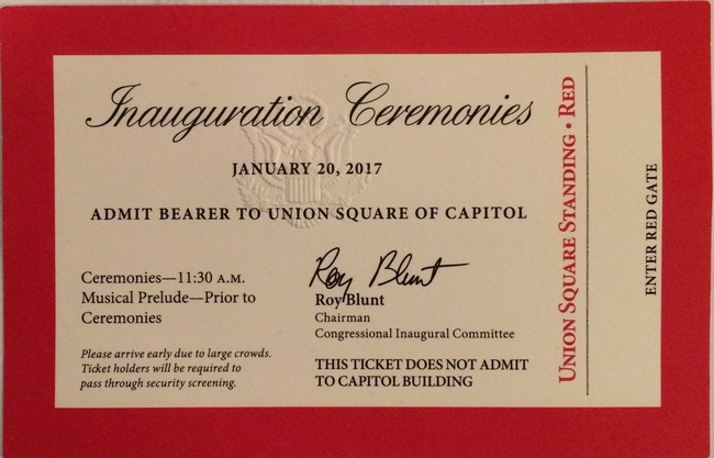 Ticket for the inauguration
