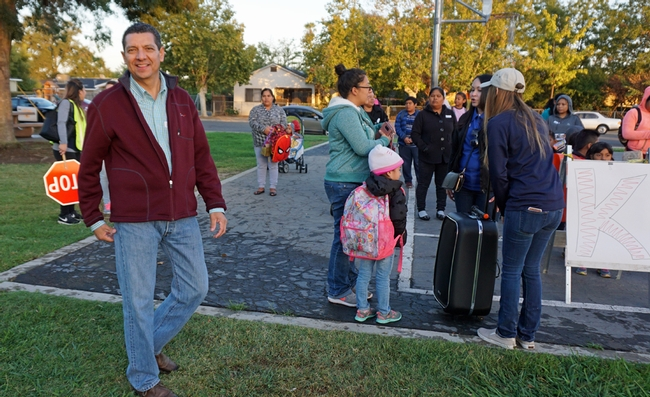 Madera Mayor Andy Medellin walked to school with children Oct. 4