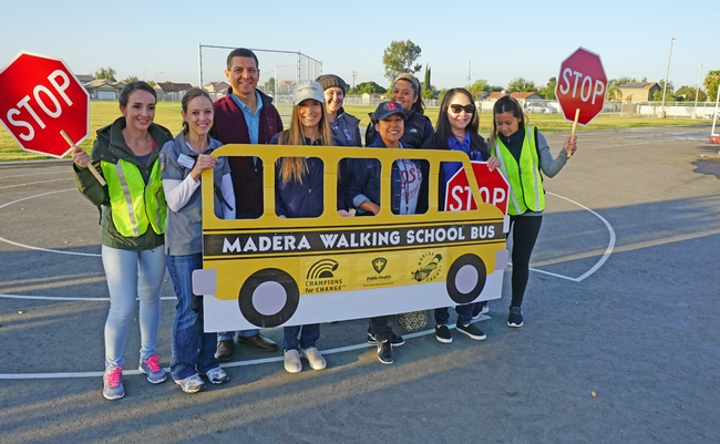 The Fresno/Madera UC CalFresh team poses with Virginia Lee Rose Elementary School principal Lisa Fernandez (center) and Madera Mayor Andy Medellin.