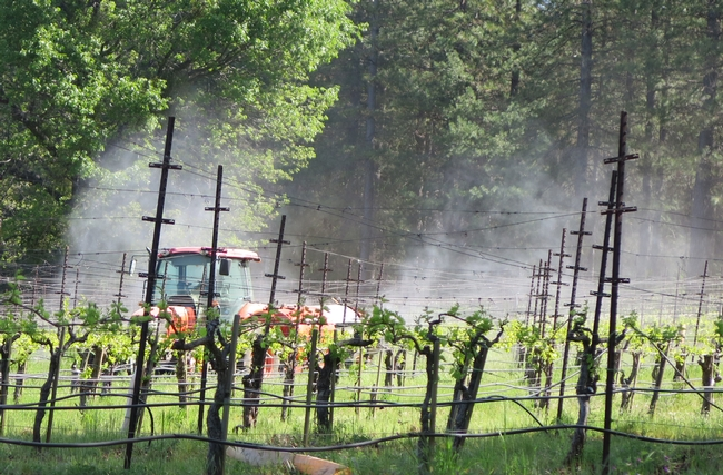 A sprayer showing drift.