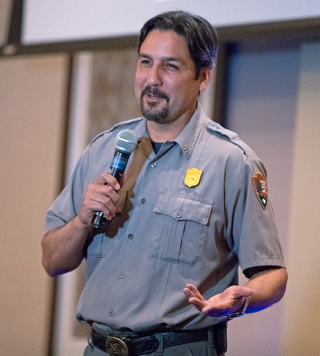 Tom Garcia, fire management officer with the Whiskeytown National Recreation Area spoke at the UC ANR Fire Summit. (Photo: Evett Kilmartin)