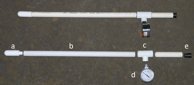"Figure 2. Components needed to build a tensiometer: a. ceramic cup, b. ½ inch PVC pipe for shafts, c. PVC ""T"", d. vacuum gauge, and e. rubber stopper."