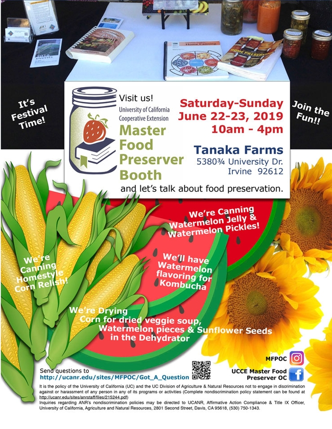 Consider Joining Us For Preserving Watermelon, Corn & Sunflowers
