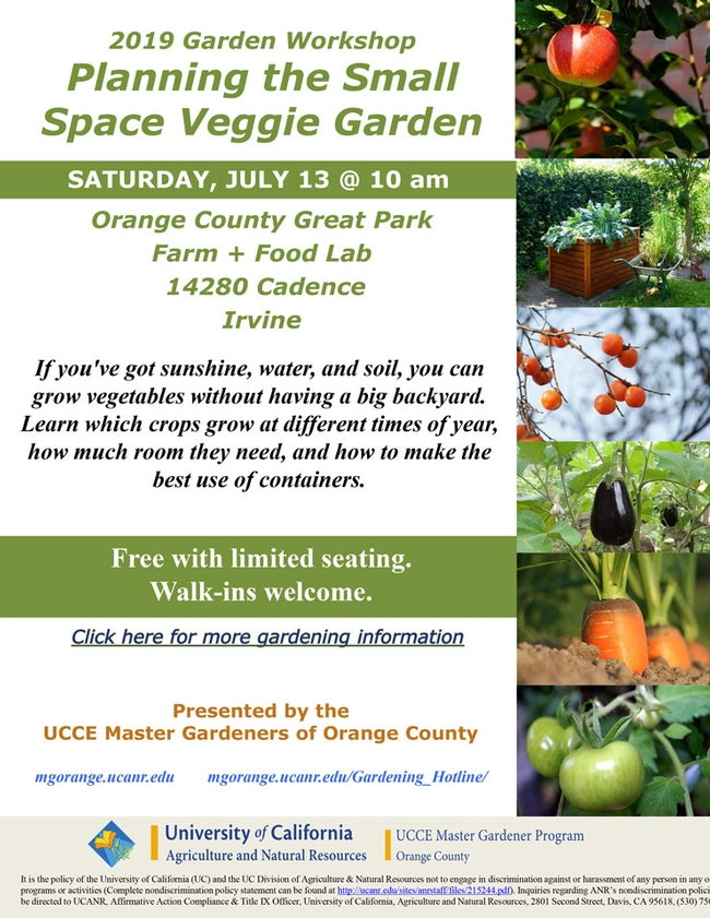 Consider Joining Us For Planning the Small Space Veggie Garden Workshop