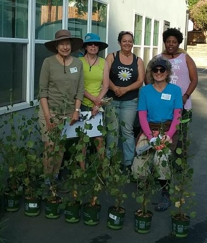 Betty (far left) volunteering at the native plant garden at Micah House with Master Gardener team leader volunteers (Sandi Szukalski, Victoria Bruce, Trisha Fitzgerald and Christy Gray).