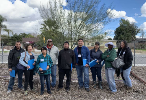 Kit Leung (4th from right) Helping Measure Trees with Master Gardeners on Citizen Science Project