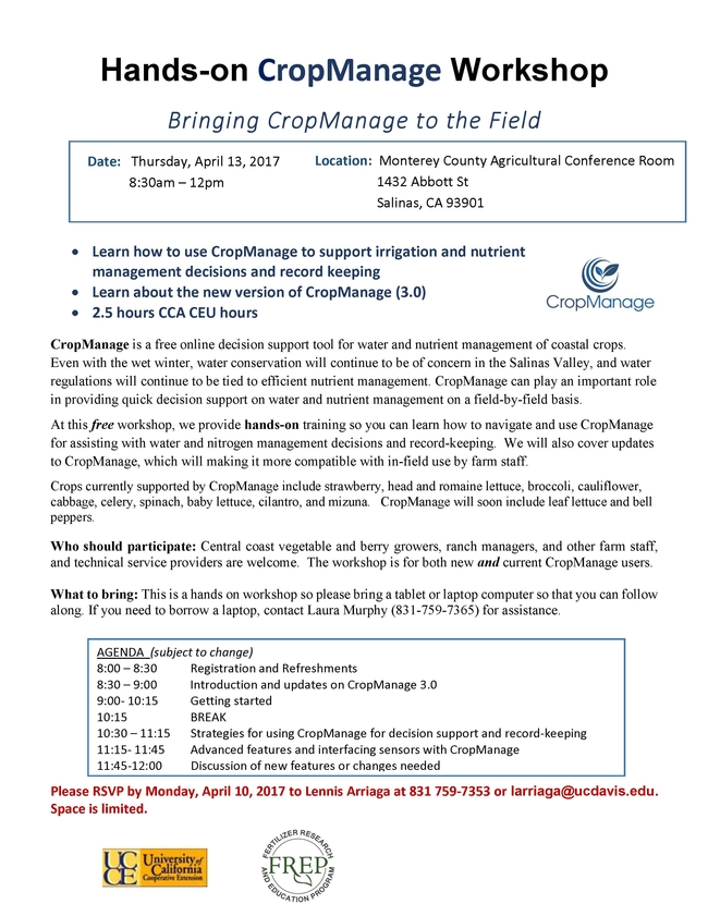 Hands-on CropManage Workshop Flyer