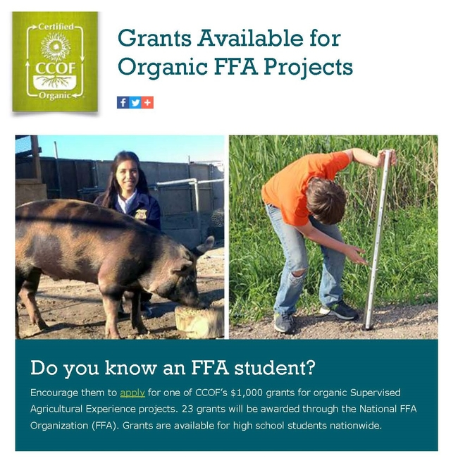 Grants Available for Organic FFA Projects Page 1