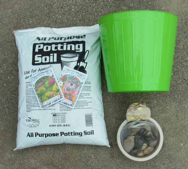 Pot, soil, seeds needed to plant a container bee garden