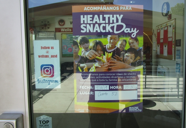 Healthy Snack Day poster at Wells Middle School
