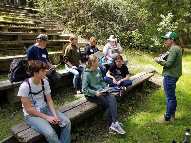 4-H Advisor, Maggie Gunn, helps participants explore the wildflowers of Las Posadas State Forest