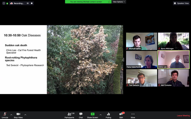Panelists from UCCE, CAL FIRE, and Phytosphere Research answer questions during a live Q&A session via Zoom as part of