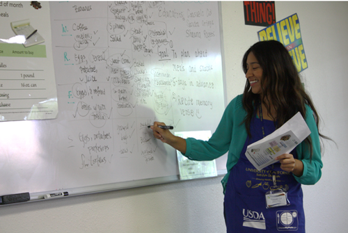 Educator Consuelo Cid enjoying the great ideas her class had in their meal planning lesson.
