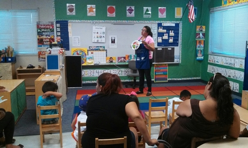 UC CalFresh Nutrition Educator, Nancy Zumkeller, gives a presentation to a room full of preschool parents at Mayfair Elementary during
