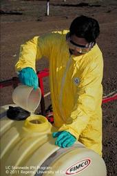 When handling pesticides, always use the personal protective equipment required by the law.