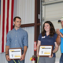 Katie Driver, UC Davis Ph.D. student, accepts D. Marlin Brandon Rice Research Fellowship award during the Rice Field Day 2018. (Photo courtesy of California Cooperative Rice Research Foundation))