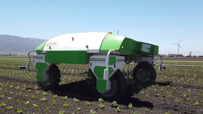 Photo 1. Naio Dino autonomous platform equipped with finger weeders
