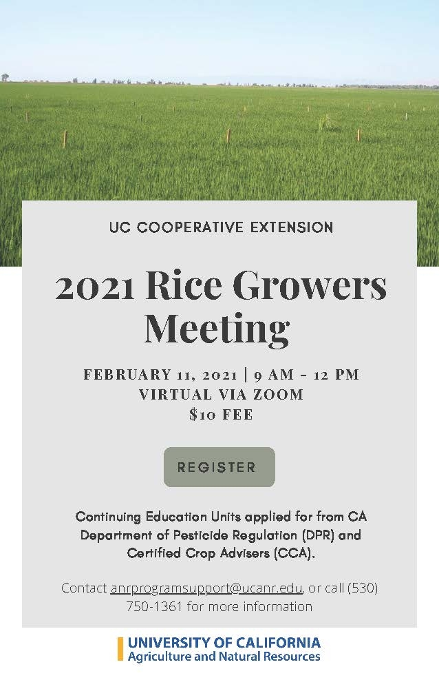 2021 Rice Growers Meeting UPDATED Announcement