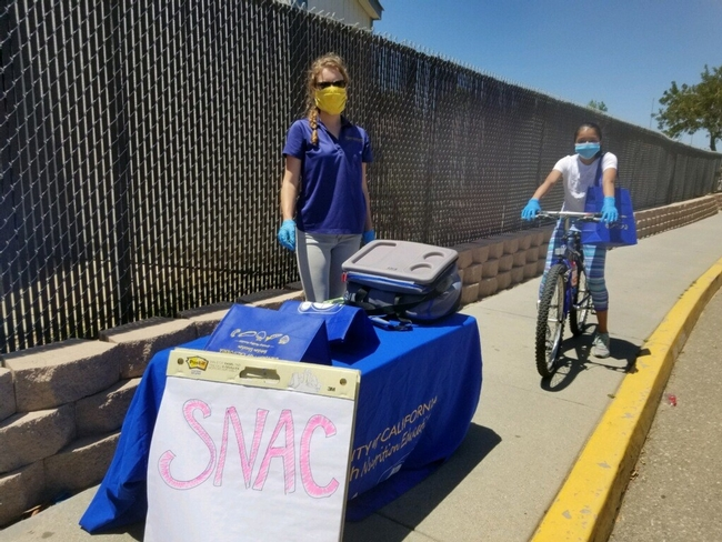 Table set-up on a sidewalk in front of a tall fence. The table has a blue table cloth with a University of California logo. Woman with a blue shirt, latex gloves, and yellow face covering is looking at the camera. Behind her is a girl on a bicycle with a blue bag of materials over her shoulder.