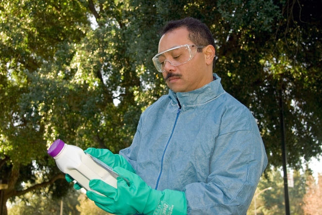 Reading the pesticide label. (Credit: ML Poe)
