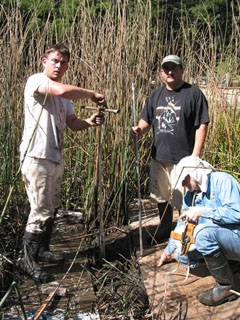 Kent Lightfoot and graduate students Liam Reidy and Chuck Striplen at the research site.