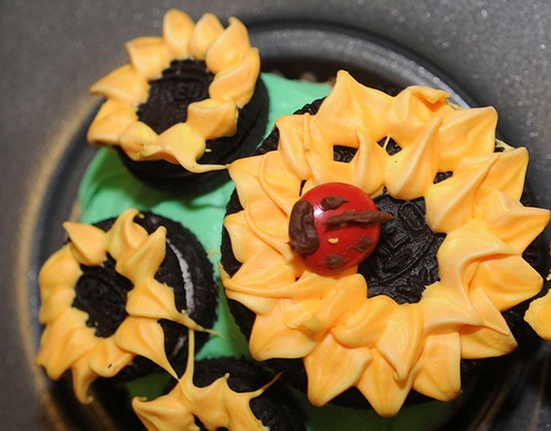 ENTOMOPHAGY--A ladybug, made from an M&M, perches atop a cupcake made by Faye Veirs. (Photo by Kathy Keatley Garvey)