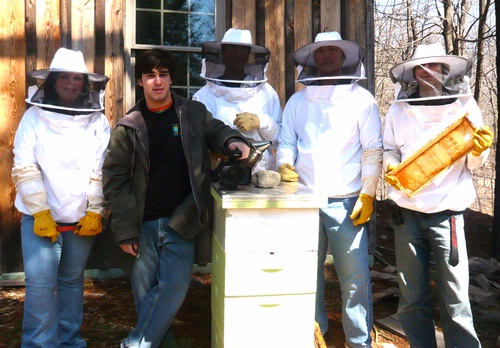 TEAM B.E.E.S.--These high school students from Allendale, N.J., are learning to be beekeepers and are educating the public about the importance of bees. From left are Camila Robbins, Bryan DiBlasi, Malith Waharaka, Colin Bassett, and Manny Gonzalez. However, Allendale prohibits backyard beekeeping. They're lobbying to change the ordinance.