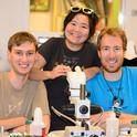 They did it! From left are Andrew Richards, Ivana Li and Matan Shelomi. (Photo by Kathy Keatley Garvey)