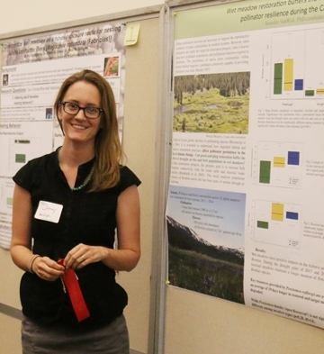 "Jennifer Van Wyk placed second for her poster on ""Wet Meadow Restoration Buffers the Impact of Climate Change: Pollinator Resilience During the California Drought. (Photo courtesy of Amina Harris)"