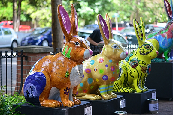 A line of jackrabbits in the Vacaville Museum courtyard. (Photo by Kathy Keatley Garvey)