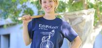 Stacey Rice of the Larry Godfrey lab, UC Davis Department of Entomology and Nematology, wearing the winning t-shirt she desinged. (Photo by Kathy Keatley Garvey) for Bug Squad Blog