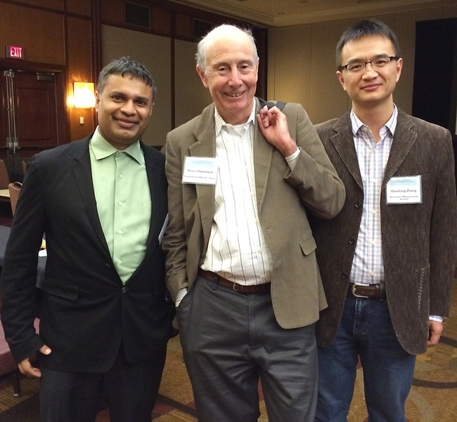 Bruce Hammock (center) with colleagues Dipak Panigrahy (left) of Harvard Medical School and Guodong Zhang of the University of Massachusetts. This photo was taken at the  International Winder Eicosanoid (WEC) Conference in Baltimore, where Hammock received the first-ever John C. McGiff Award.