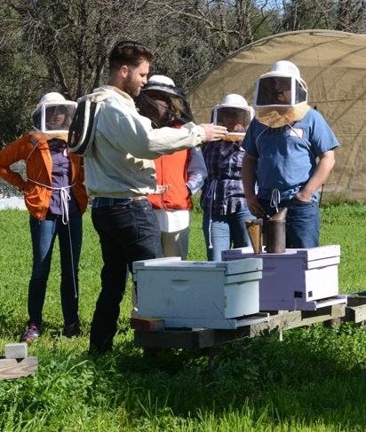 Charley Nye, manager of the Harry H. Laidlaw Jr. Honey Bee Research Facility, teaching a UC Davis course in February 2016. (Photo by Kathy Keatley Garvey)