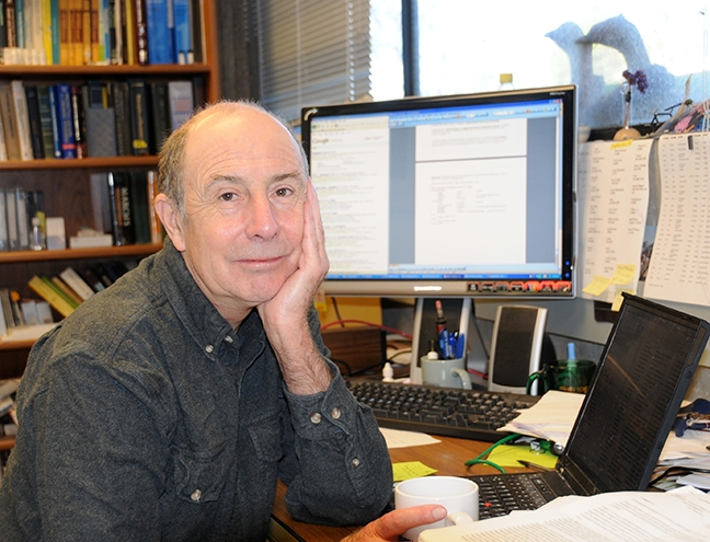 UC Davis distinguished professor Bruce Hammock, whose research went from insects to human health, is shown here in his office in Briggs Hall. (Photo by Kathy Keatley Garvey)