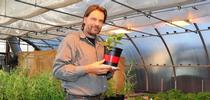 UC Davis agricultural entomologist Christian Nansen in his greenhouse. (Photo by Kathy Keatley Garvey) for Bug Squad Blog